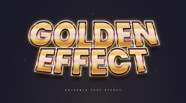 Style de texte doré avec effet lumineux. effet de style de texte modifiable