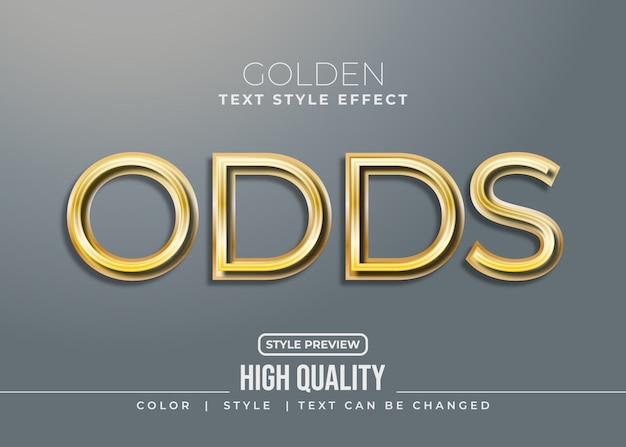 Style de texte doré élégant avec effet réaliste et ombre