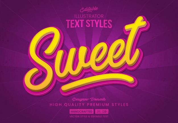 Style de texte doux jaune et rose