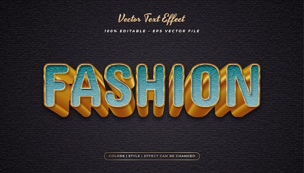 Style de texte élégant et audacieux avec effet gaufré et texturé dans le concept cyan et or