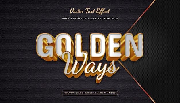 Style de texte élégant blanc et or avec effet gaufré