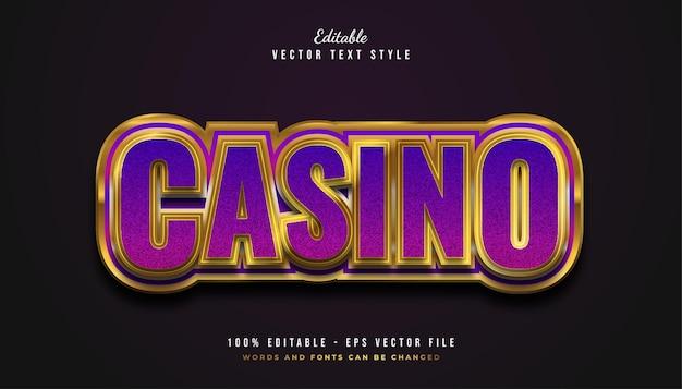 Style de texte élégant de casino en violet et or avec effet en relief
