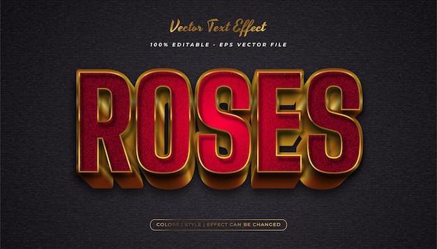 Style de texte élégant et gras en rouge et or avec effet texturé et en relief