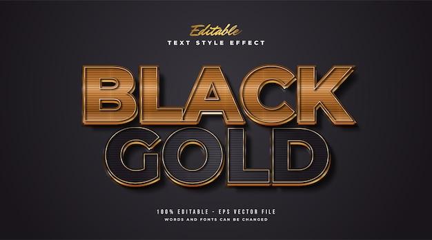 Style de texte élégant noir et or avec effet de texture de ligne