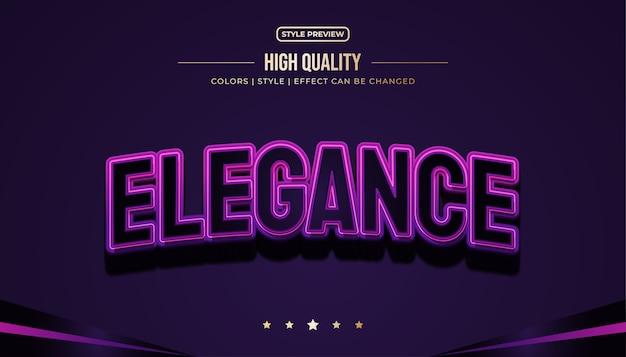 Style de texte élégant noir et violet avec des effets en relief et incurvés