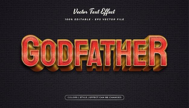 Style de texte élégant rouge et or avec effet en relief et texturé dans un concept réaliste
