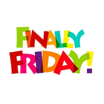 Style de texte enfin vendredi typographie brisé ensemble coloré créatif de la typographie du texte son vendredi pressé
