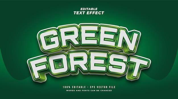 Style de texte de forêt verte audacieuse avec effet 3d en relief et incurvé. effet de style de texte modifiable