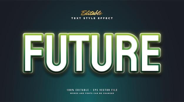 Style de texte futuriste avec effet néon brillant
