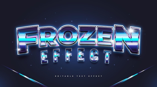 Style de texte gelé bleu avec effet 3d. effet de style de texte modifiable