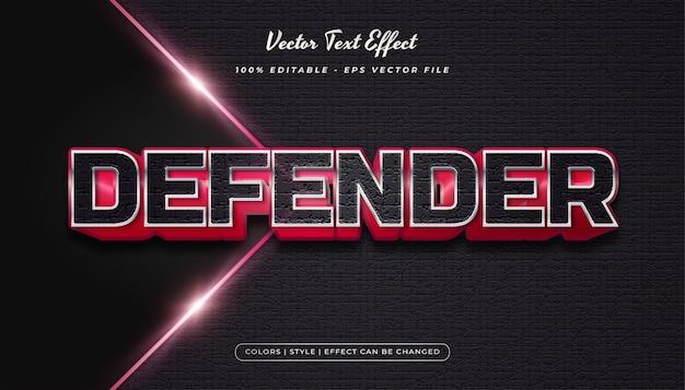 Style de texte en gras fort avec effet en relief et texturé dans le concept noir et rouge