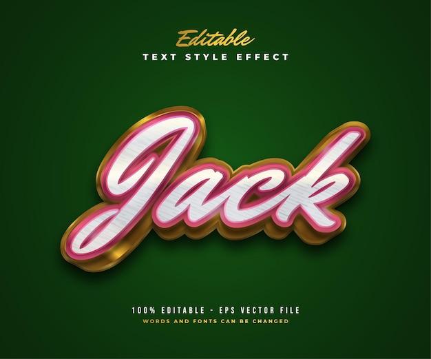 Style de texte jack en rouge, blanc et or avec effet en relief et texturé. effet de style de texte modifiable