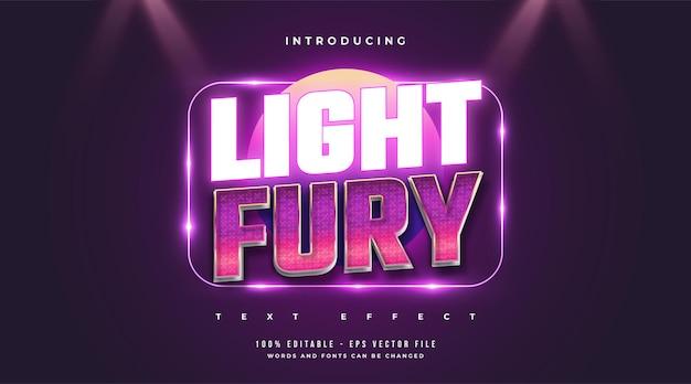 Style de texte light fury avec effet néon rétro et brillant. effet de style de texte modifiable