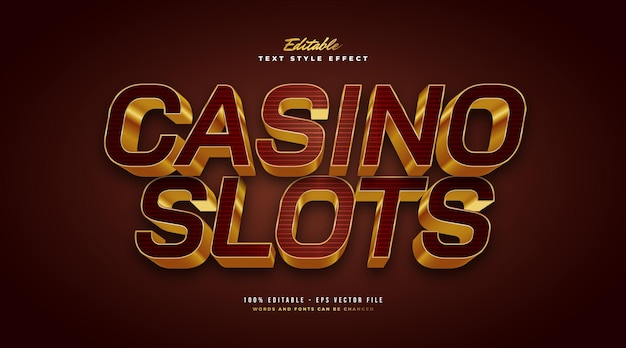 Style de texte de luxe gold casino avec effet 3d. effet de style de texte modifiable. effet de style de texte modifiable