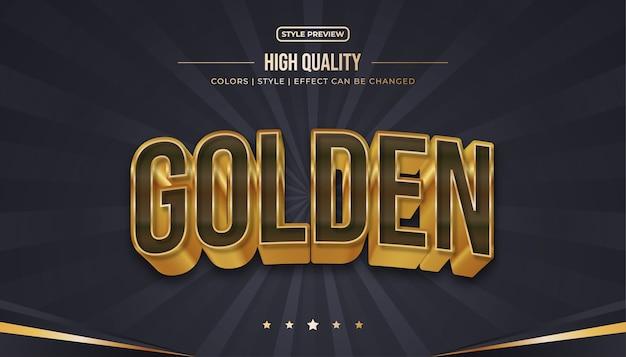 Style de texte marron et or réaliste avec des effets incurvés et en relief