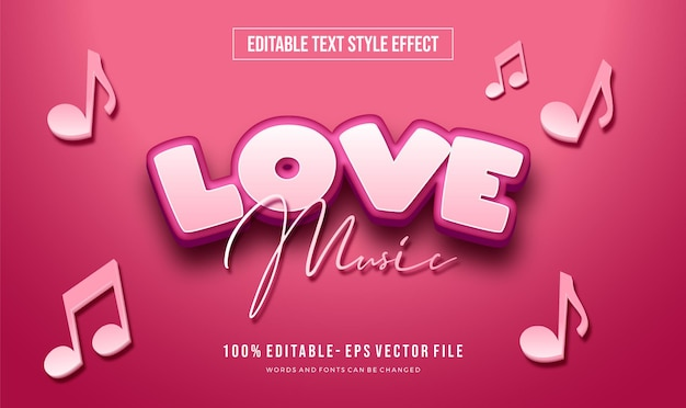 Style de texte mignon modifiable avec effet de forme de coeur