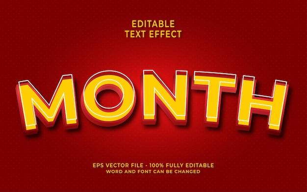 Style de texte modifiable d'effet de texte de mois 3d