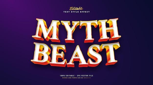 Style de texte myth beast en blanc et orange avec effet en relief 3d. effet de style de texte modifiable