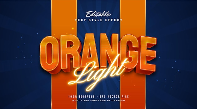 Style de texte orange clair avec néon brillant et effets en relief. effet de style de texte modifiable