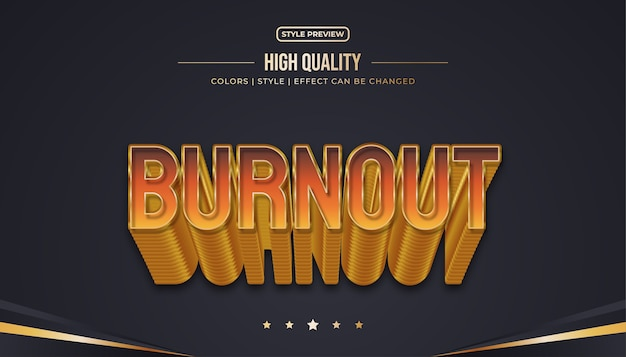 Style de texte orange et or avec effet de relief et de brûlure