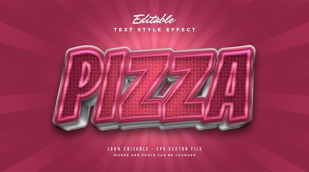 Style de texte de pizza rouge audacieux avec effet de texture à carreaux. effets de style de texte modifiables