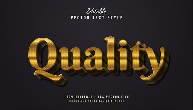 Style de texte de qualité en dégradé d'or avec effet en relief