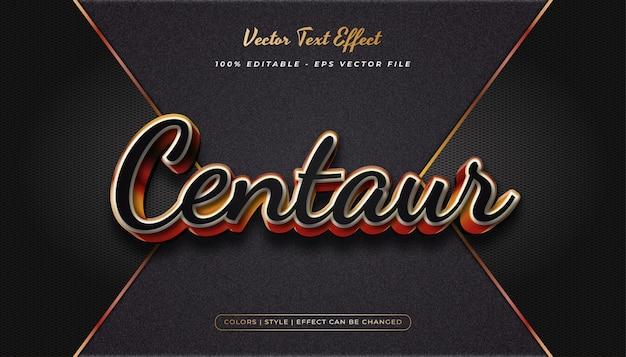 Style de texte réaliste 3d avec effet en relief dans le concept noir et or