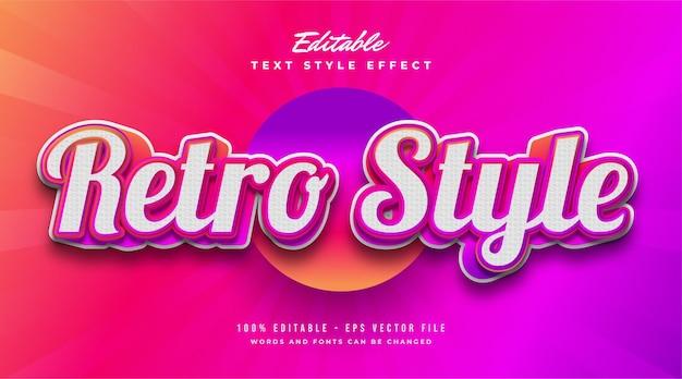 Style de texte rétro en dégradé coloré et effet en relief. effet de style de texte modifiable