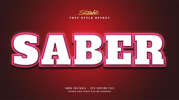 Style de texte sabre rouge avec effet néon brillant