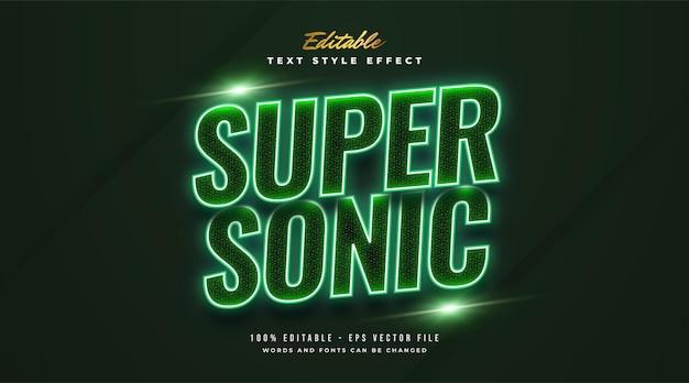 Style de texte super sonic avec effet néon vert brillant