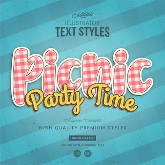 Style de texte de tissu de pique-nique