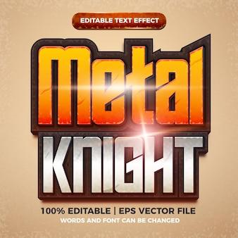 Style de titre de jeu comique de dessin animé d'effet de texte modifiable de chevalier en métal