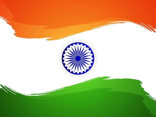 Style de trait de pinceau thème du drapeau indien vecteur de fond de jour de l'indépendance
