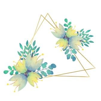 Style triangulaire de cadre floral de mariage