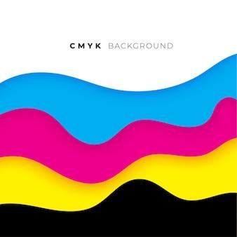 Style de vague cmyk fond de couleurs qui coule