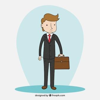Style de vendeur heureux caractère dessiné à la main