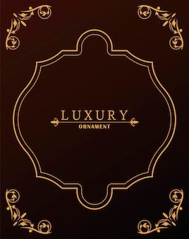 Style victorien de luxe cadre doré sur fond de vin rouge