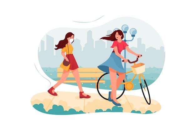Style De Vie Des Gens Dans L'illustration De La Ville Vecteur Premium