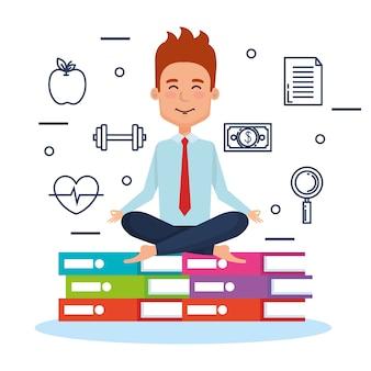 Style de vie de méditation de gens d'affaires avec la conception d'illustration des éléments métier