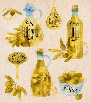 Style de village d'huile d'olive dessiné aquarelle
