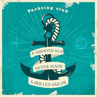Style Vintage Du Club De Yachting Vecteur gratuit