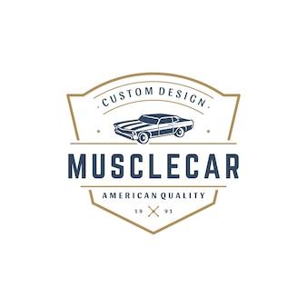 Style vintage d'élément de modèle de logo de voiture de muscle