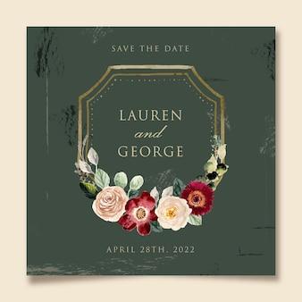 Style vintage enregistrer la date avec aquarelle cadre floral