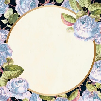 Style vintage de fond floral cadre or