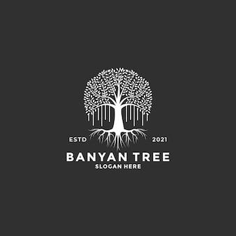 Style vintage d'idée de conception de logo d'arbre de banian