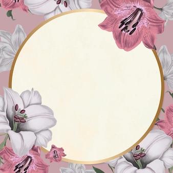 Style vintage de motif floral de vecteur de cadre d'or