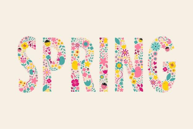 Style vintage printemps lettre décorer avec un design floral.