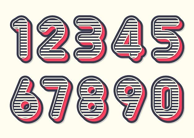 Style Vintage Rétro De Nombres. Vecteur Premium