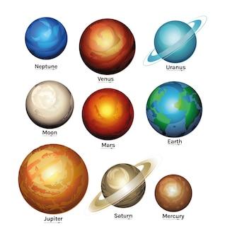 Le style de la voie lactée de l'espace et de la planète définit des icônes du thème de l'espace futuriste et cosmos