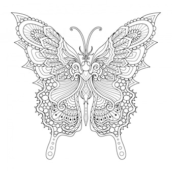 Style zentangle papillon, coloriage